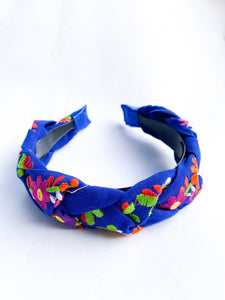 Embroidered Maria Headband- Royal Blue