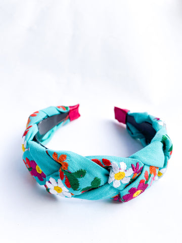 Embroidered Maria Headband- Turquoise