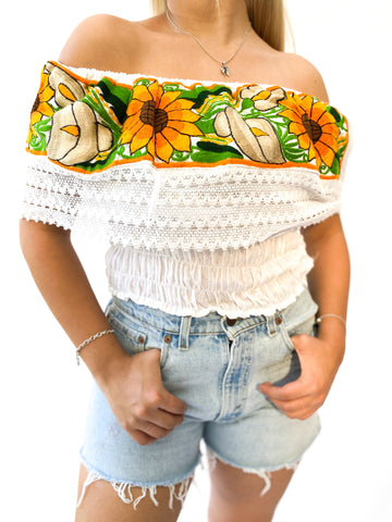 Girasol off the shoulder blouse- Cropped