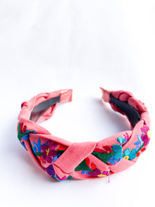Embroidered Maria Headband- Coral