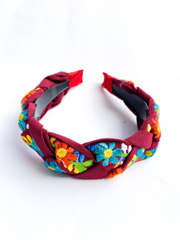 Embroidered Maria Headband- Maroon