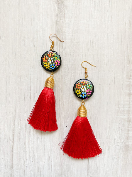 Hand Painted Tassel Earrings