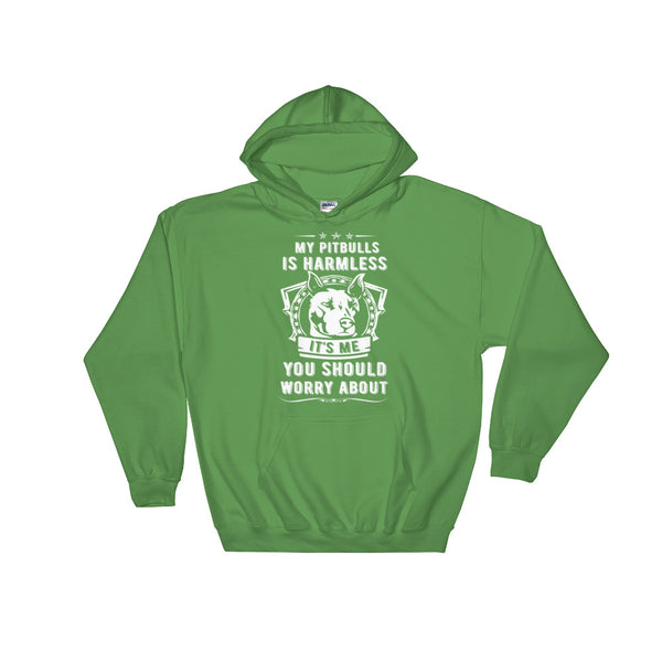 My Pitbull Is Harmless Hoodie Sweatshirt- Irish Green
