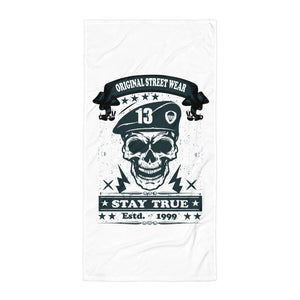 Stay True Beach Towel Design-White/Black