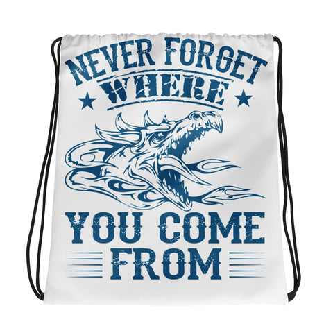 Drawstring Bag/Don't Never Forget - White/Blue