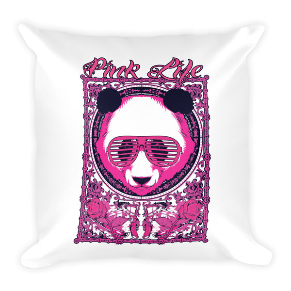Pink Life Pillow Design-White