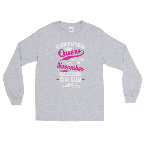 Ladies Long Sleeve November T-Shirt-Sport Grey