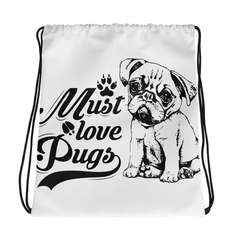 Pugs Black/White Drawstring Bag - White/Black