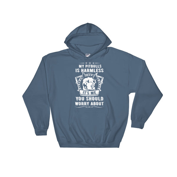 My Pitbull Is Harmless Hoodie Sweatshirt- Indigo Blue
