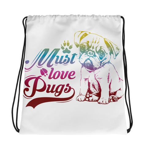 Drawstring Bag/The Pug 2 Love - White/Multiple  Colors