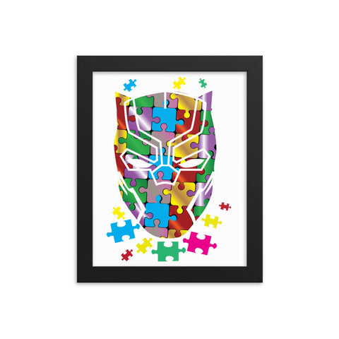 Panther Autism Speak Framed Poster-White/Black