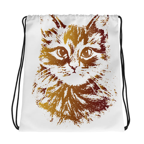 Gold Cat Drawstring Bag Design - Certified227