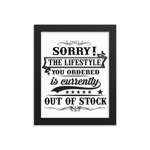 The Lifestyle You Order Framed Poster Design - White/Black