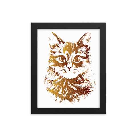 Gold Cat Framed Poster - Certified227