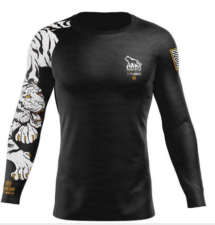 Maeda Beast Series White Tiger L/S Rash Guard (Black)