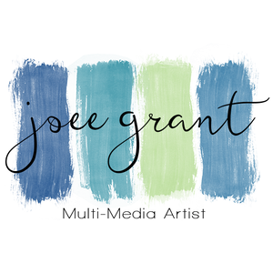 The logo for joee grant, multi-media artist, Which is 4 paint swatches in blues and green.