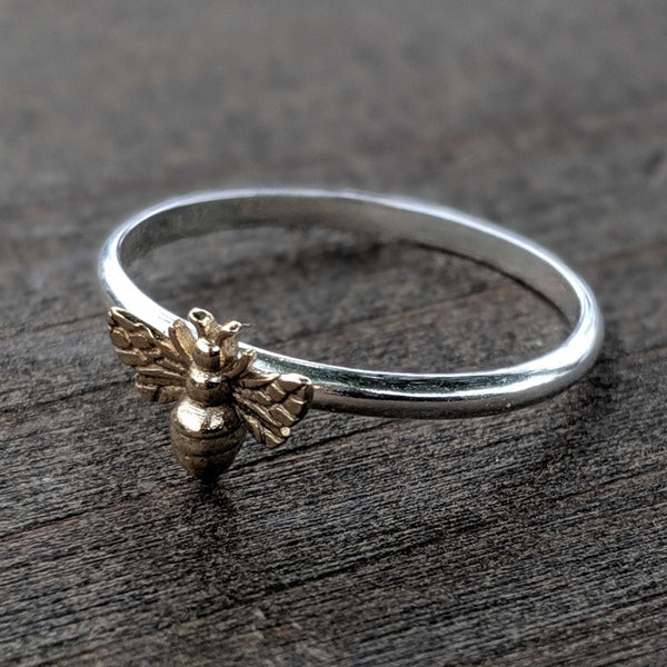 • HONEY BEE • Silver + Bronze Ring