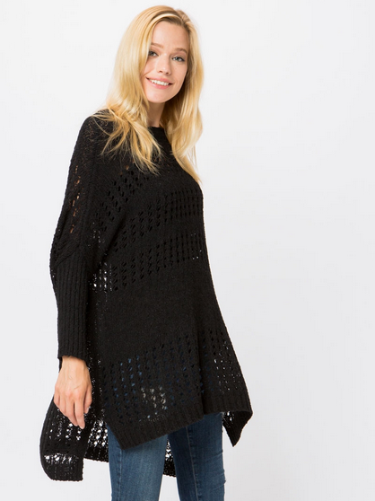 (COZY CASUAL) grid knit, dollman sleeved