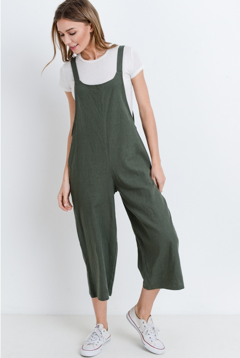 (MONO B) linen blend overall style, capr