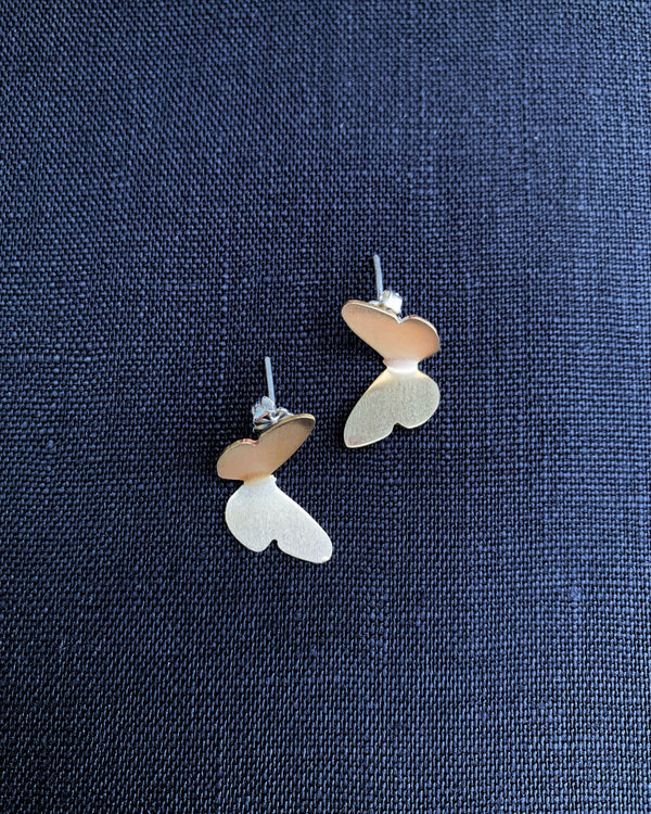 • FLUTTERING BUTTERFLIES • brass and sterling silver earrings