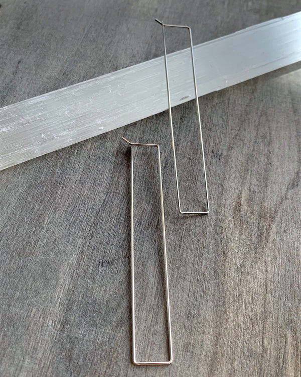 • RECTANGLE HOOPS • silver dangle earrings