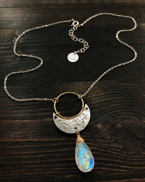 • NYX • rainbow moonstone + gold + brass necklace