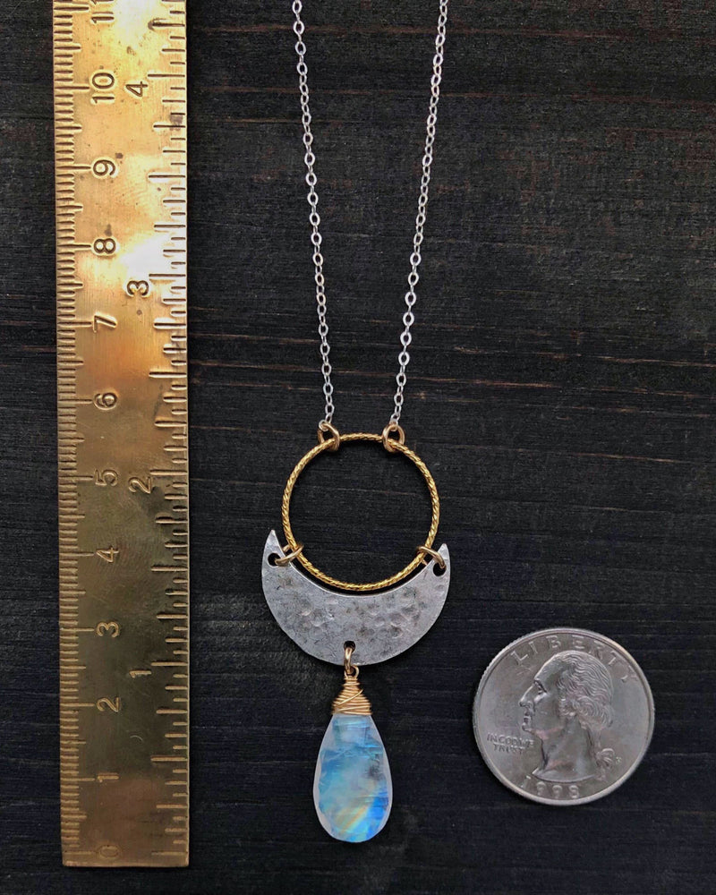 • NYX • rainbow moonstone necklace