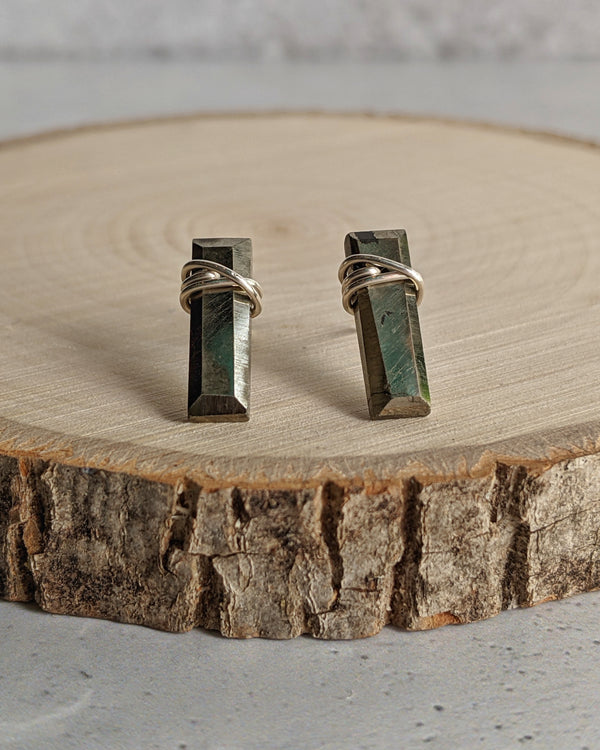 • BAR • pyrite sterling silver stud earrings