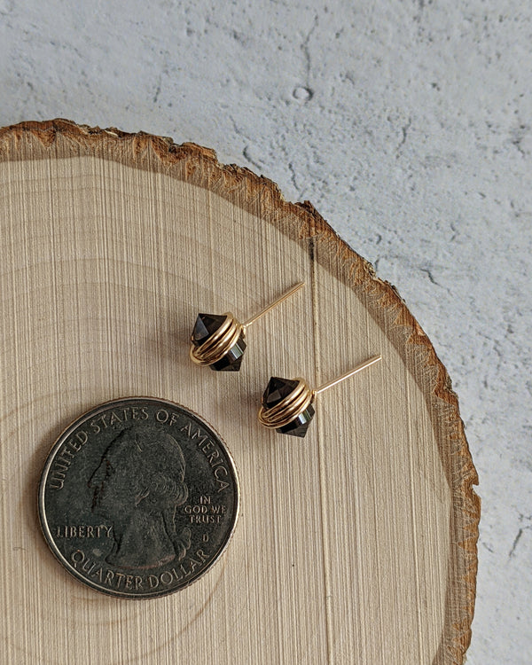 • PIKE • smoky quartz gold stud earrings