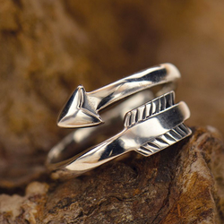 • MOVING FORWARD • adjustable silver arrow ring