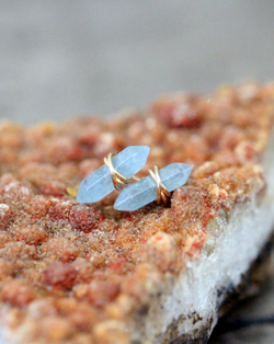 • CREST • aquamarine gold stud earrings