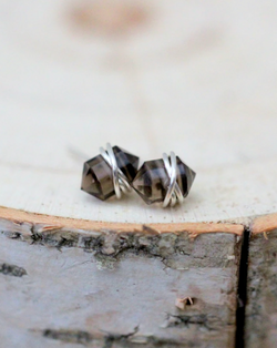 • PIKE • smoky quartz sterling silver stud earrings
