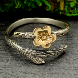 • BLOSSOM & BRANCH • adjustable silver + bronze ring