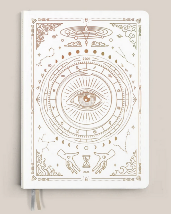 • ASTROLOGICAL PLANNER • WHITE VEGAN LEATHER