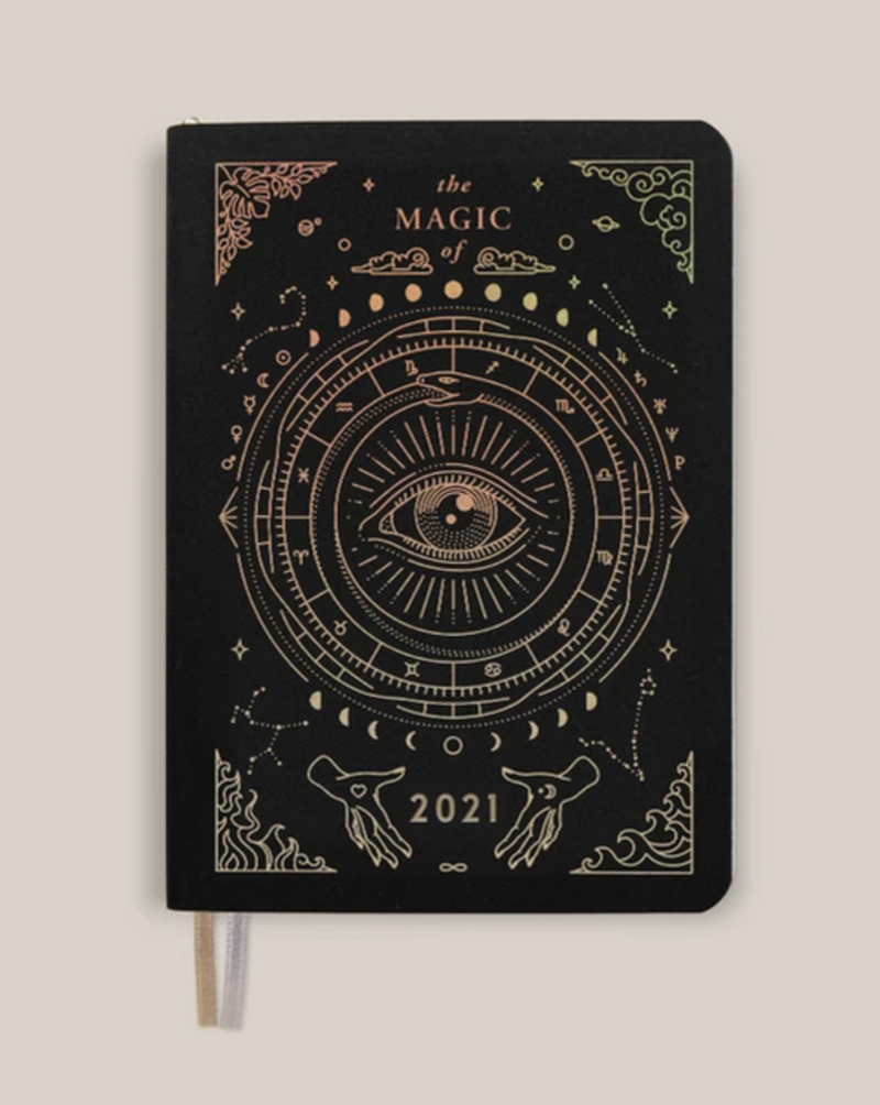• POCKET - ASTROLOGICAL PLANNER • BLACK VEGAN LEATHER