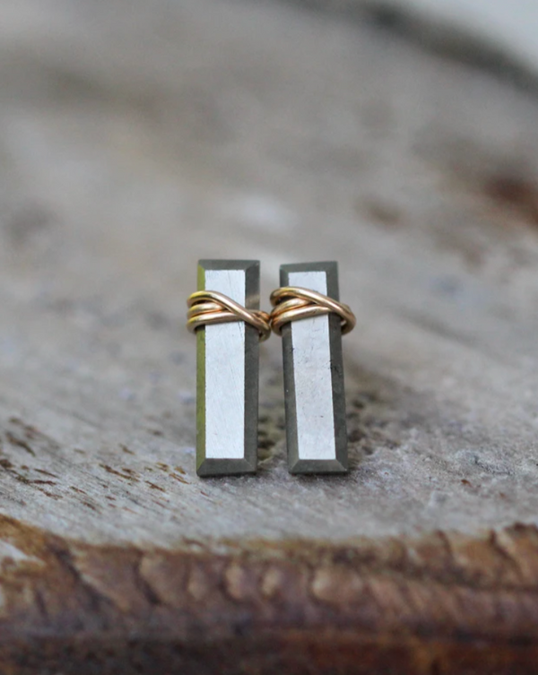 • BAR • pyrite gold stud earrings