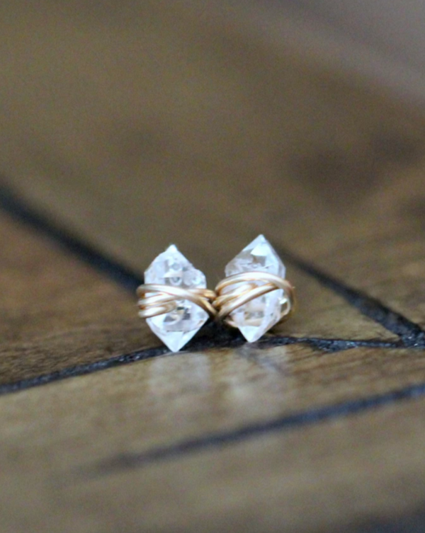 • PIKE • herkimer gold stud earrings
