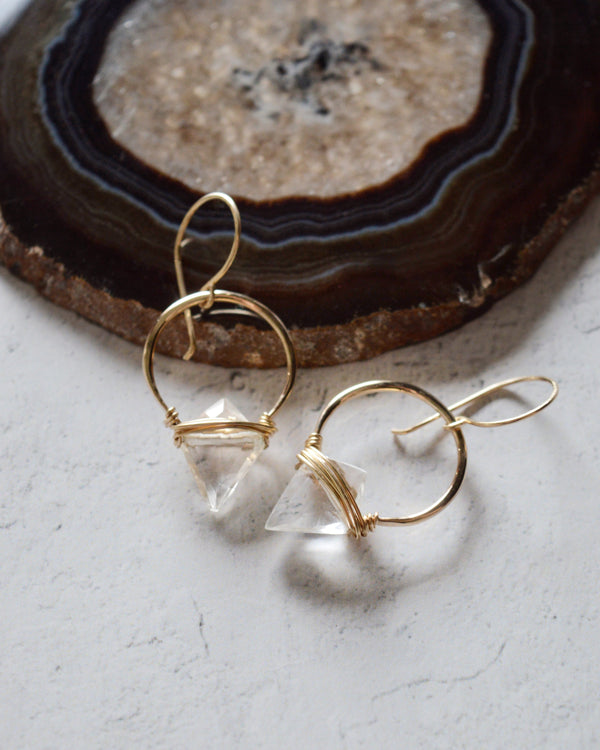 • ALBATROSS • silver or gold quartz earrings