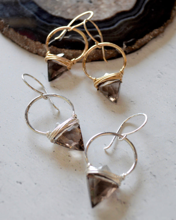 • ALBATROSS • silver or gold smoky quartz earrings