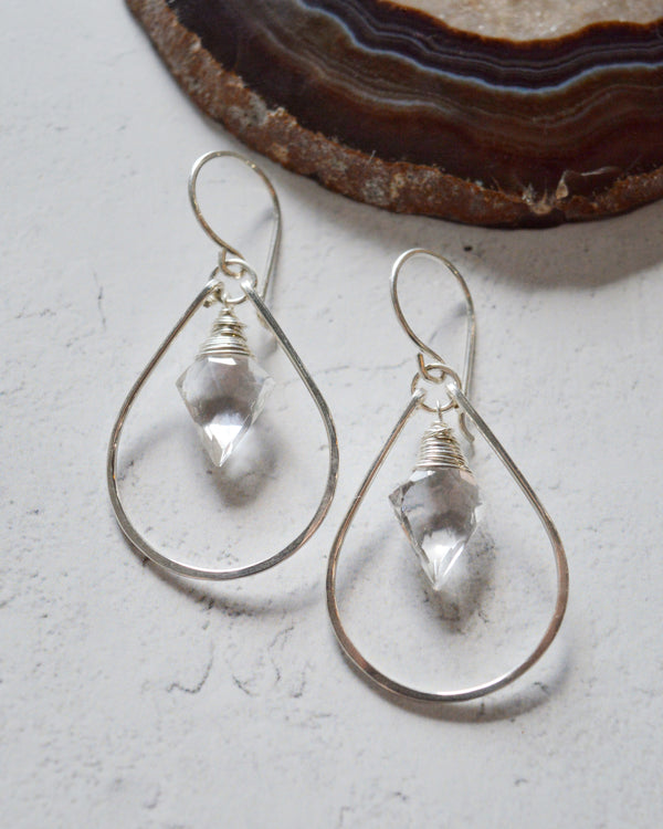 • ARROW HOOP • silver or gold quartz earrings