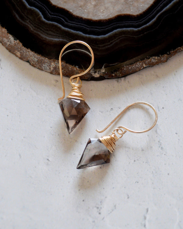 • ARROW • silver or gold smoky quartz earrings