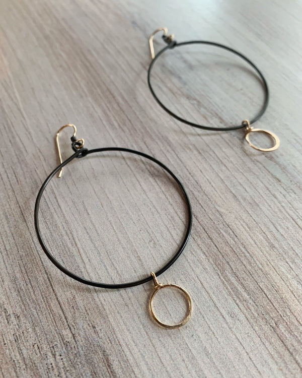 • CIRCLET • mixed metal hoop earrings