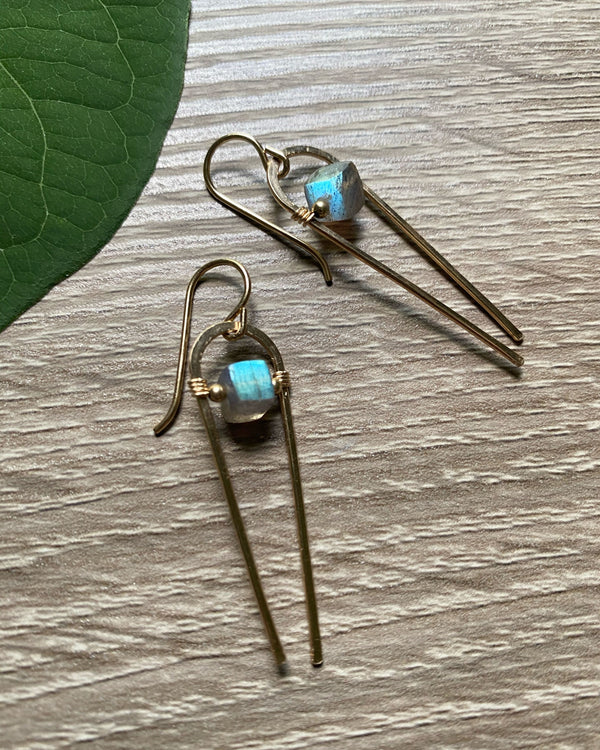 • COMET • labradorite gold earrings