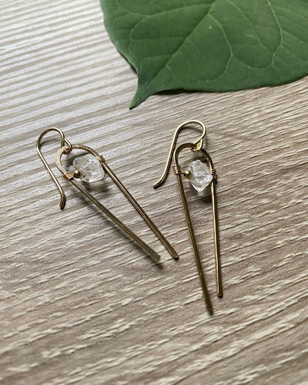 • COMET • herkimer gold earrings