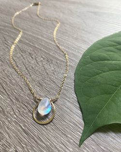 • DEW DROP • rainbow moonstone gold necklace