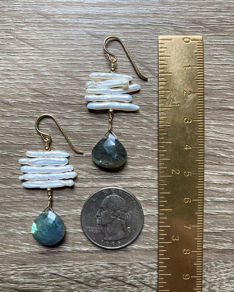• COVENTINA • labradorite + stick freshwater pearl gold earrings