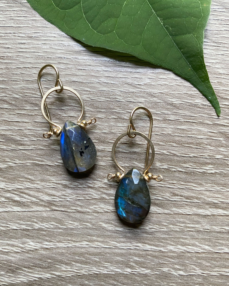 • FRAME • labradorite gold earrings