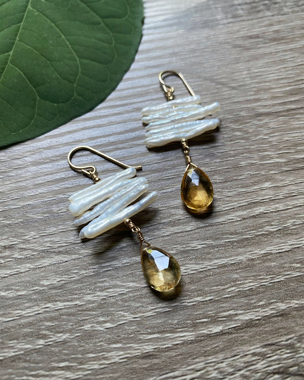 • COVENTINA • citrine + stick freshwater pearl gold earrings