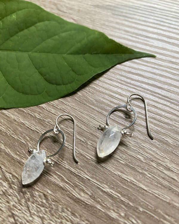 • FRAME • rainbow moonstone silver earrings