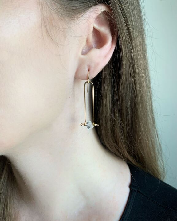 • STRAIGHT FRAME • herkimer gold earrings